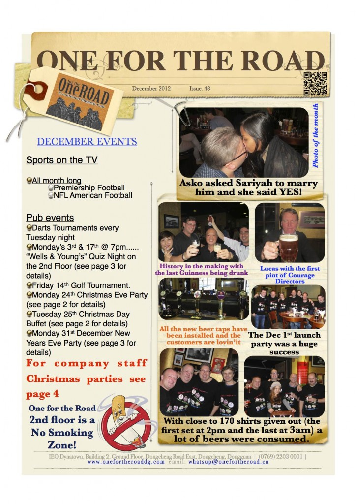 December 2012 One for the Road Newsletter
